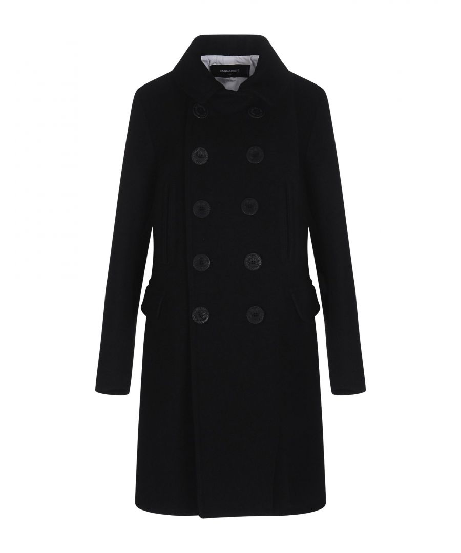 Image for Dsquared2 Black Wool Classic Overcoat