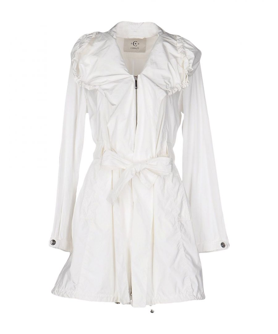 Image for Cerruti 1881 White Techno Fabric Belted Overcoat