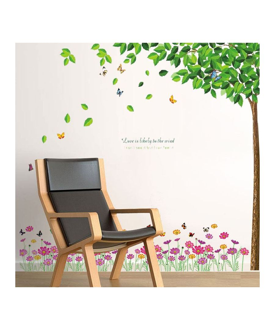 Image for Green Falling Leaves+ Pink Colourful Flower, Peel and Stick, self-adhesive, Living Room Wall Sticker