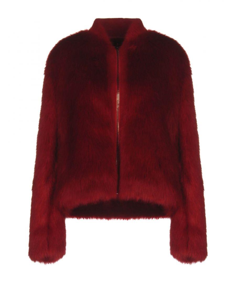 Image for Giamba Red Faux Fur Jacket