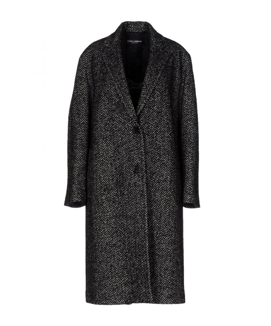 Image for Dolce & Gabbana Black Virgin Wool Boucle Overcoat