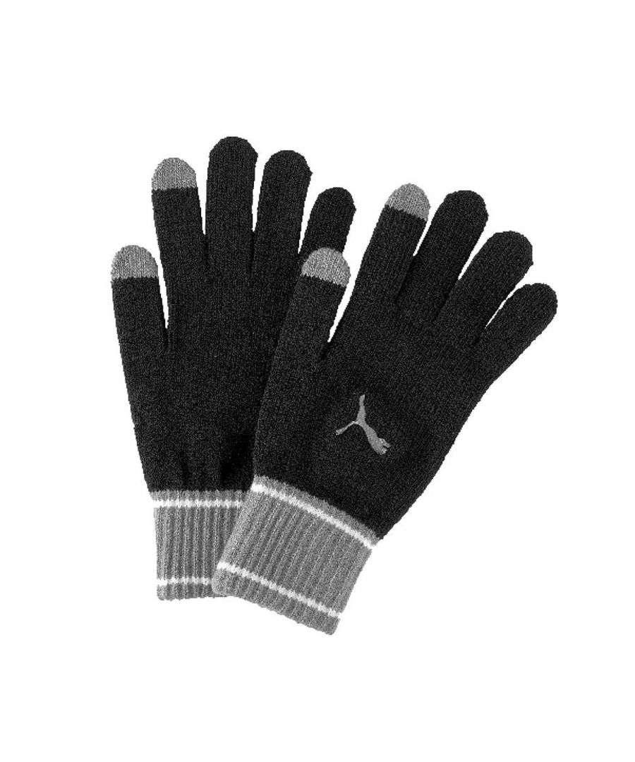 Image for Puma Adult Knitted Gloves Black/Grey - L/XL
