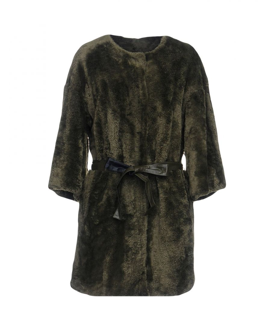 Image for Pinko Military Green Faux Fur Coat