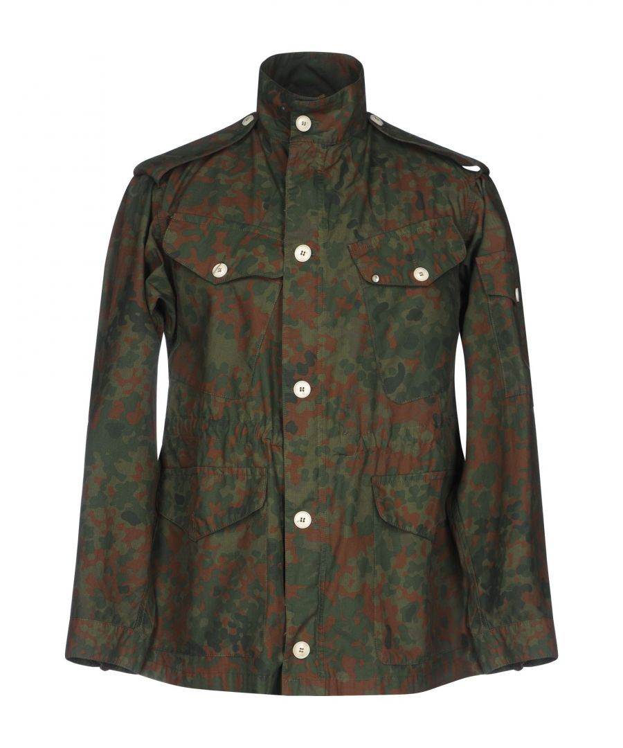Image for (+) People Military Green Camouflage Design Cotton Safari Jacket