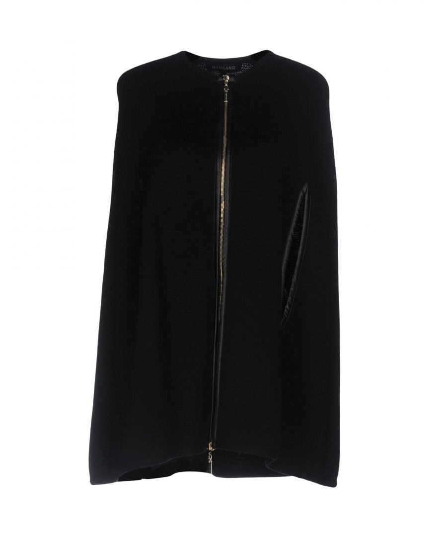 Image for Mangano Black Wool And Faux Leather Cape