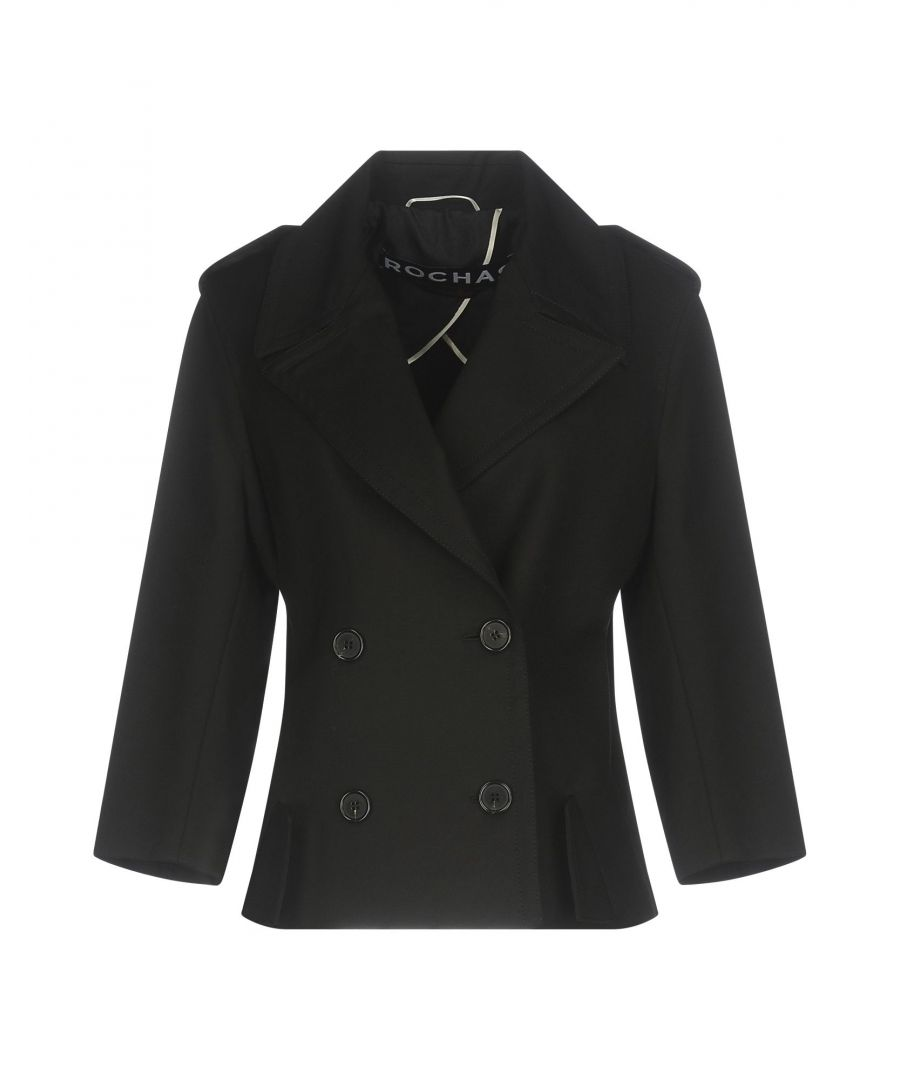 Image for Rochas Black Cotton Double Breasted Jacket
