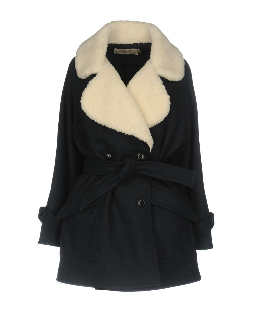 Image for Maison Kitsune Dark Blue Wool And Faux Fur Coat