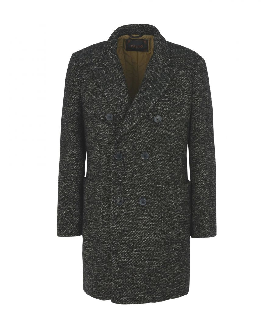 Image for Palto Black Tweed Virgin Wool Double Breasted Jacket