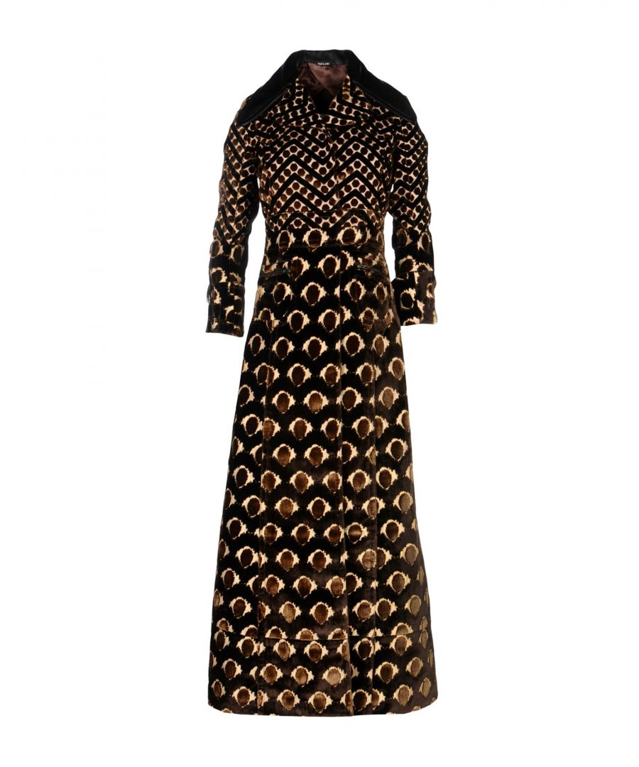 Image for Maison Margiela Dark Brown Pattern Velvet And Silk Overcoat