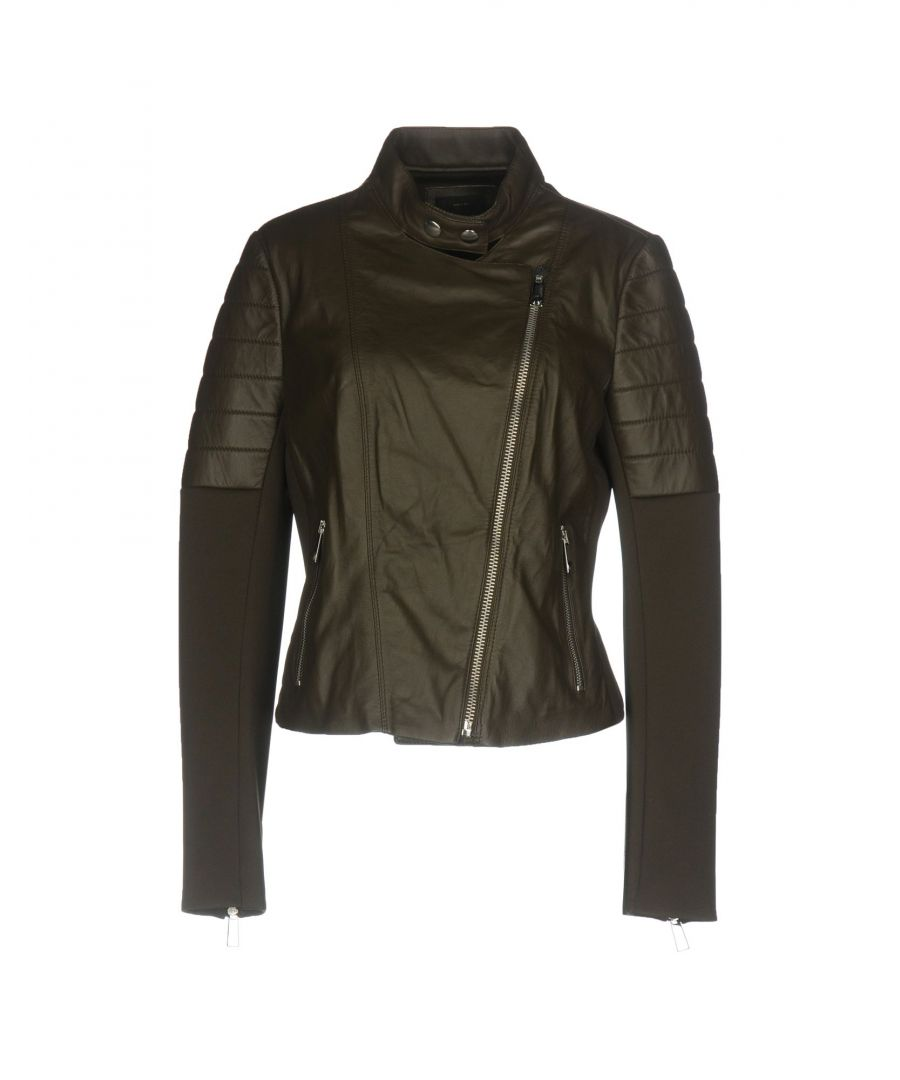 Image for Pinko Military Green Lambskin Leather Jacket