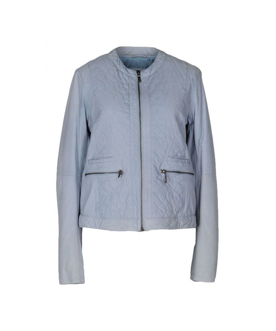 Image for Emporio Armani Sky Blue Leather Jacket