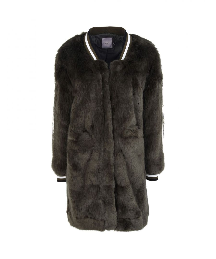 Image for Urbancode Military Green Faux Fur Coat
