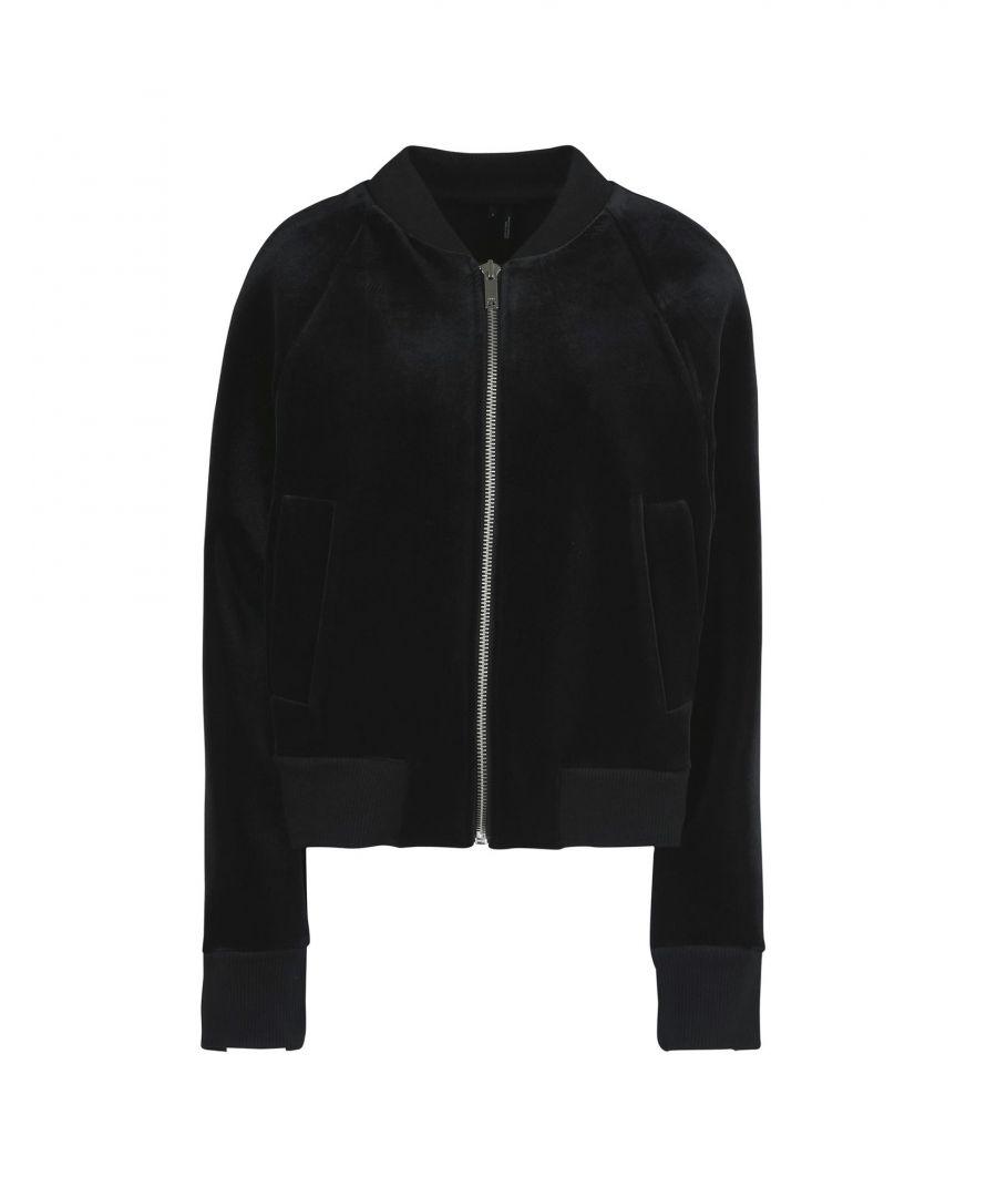 Image for DKNY Black Neoprene And Chenille Bomber Jacket