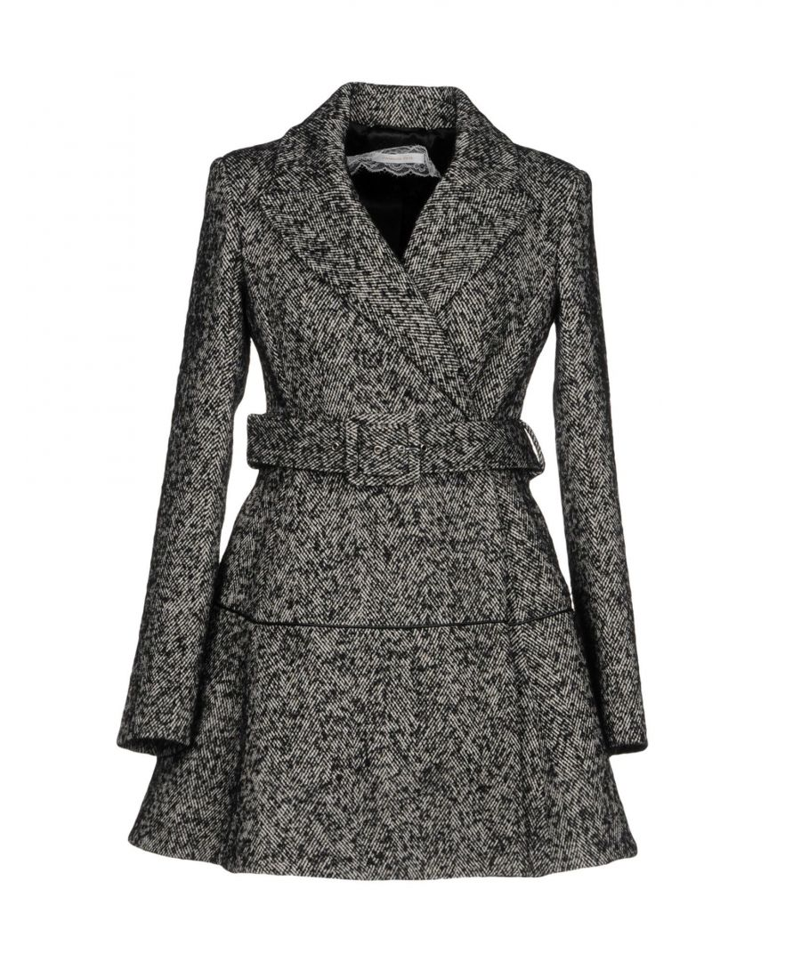Image for Patrizia Pepe Black Herringbone Cotton Belted Trench Style Coat