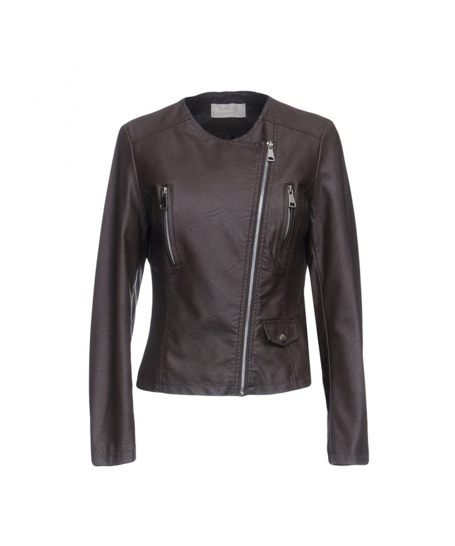 Image for Kaos Jeans Dark Brown Faux Leather Jacket