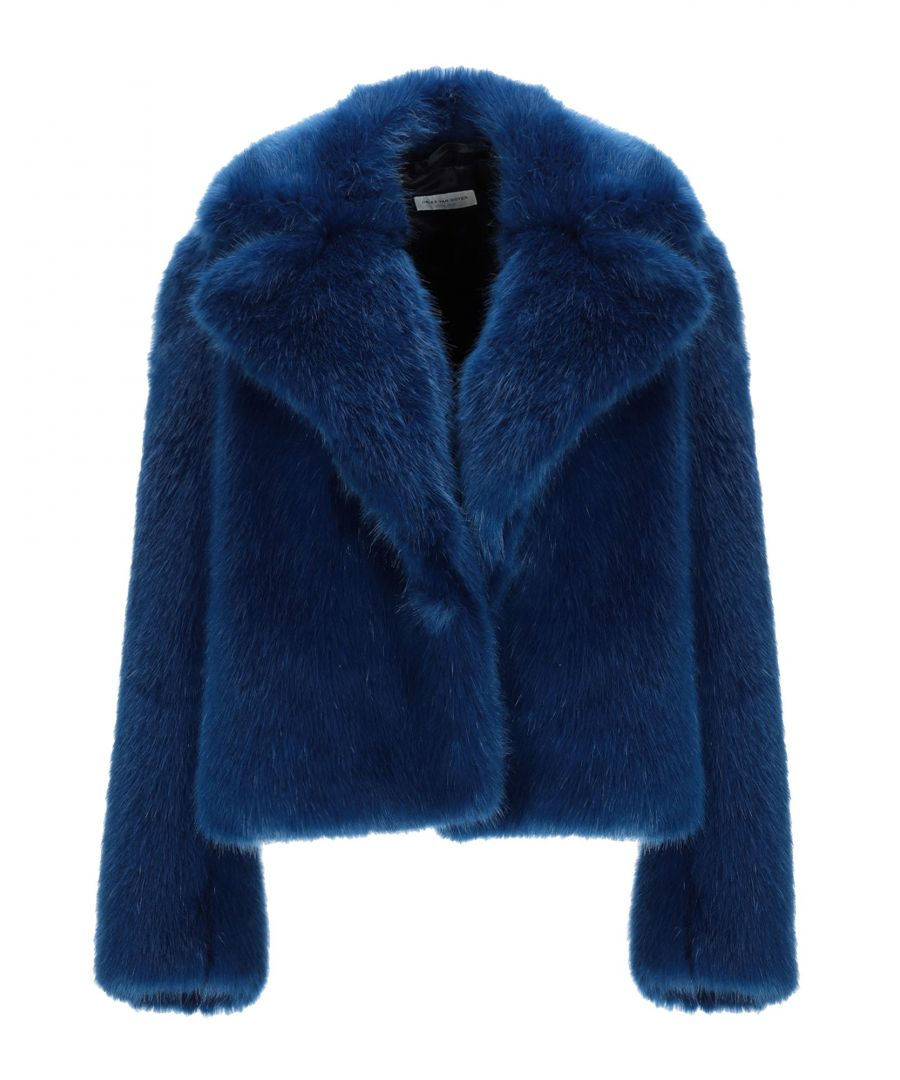Image for Dries Van Noten Blue Faux Fur Jacket
