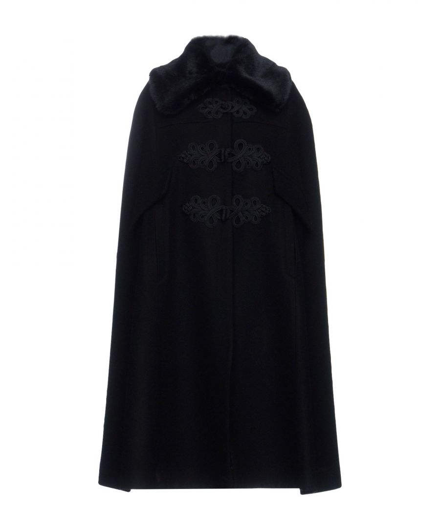 Image for Cristina Rocca Black Wool And Faux Fur Cape