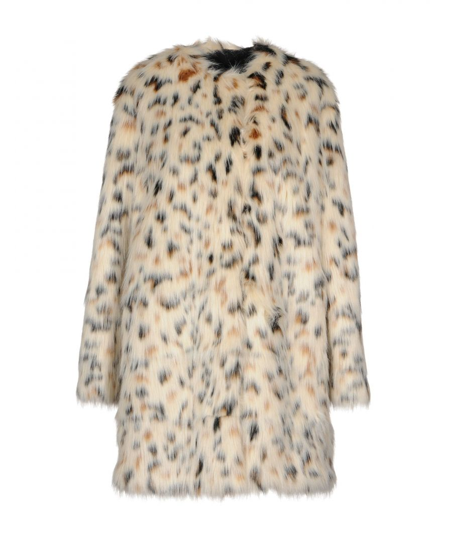 Image for MSGM Beige Print Faux Fur Jacket