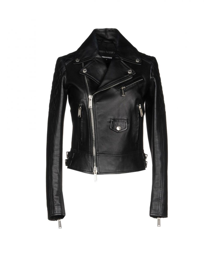 Image for Dsquared2 Black Calf Leather Biker Jacket