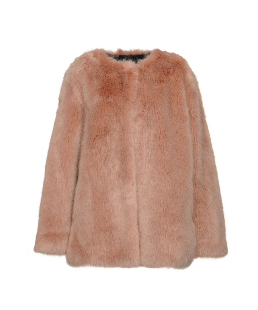 Image for Pinko Pastel Pink Faux Fur Jacket
