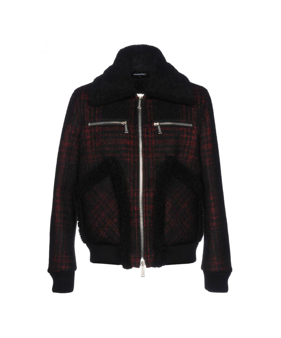 Image for Dsquared2 Maroon Flannel And Leather Bomber Jacket