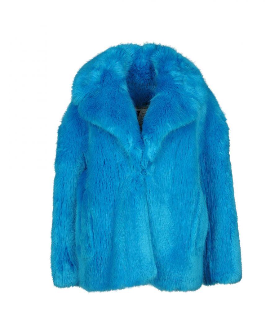 Image for Diane Von Furstenberg Turquoise Faux Fur Coat