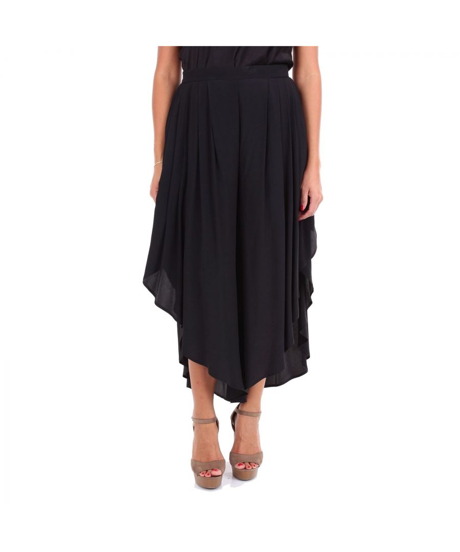 Image for JUCCA WOMEN'S J2924007003 BLACK ACETATE PANTS