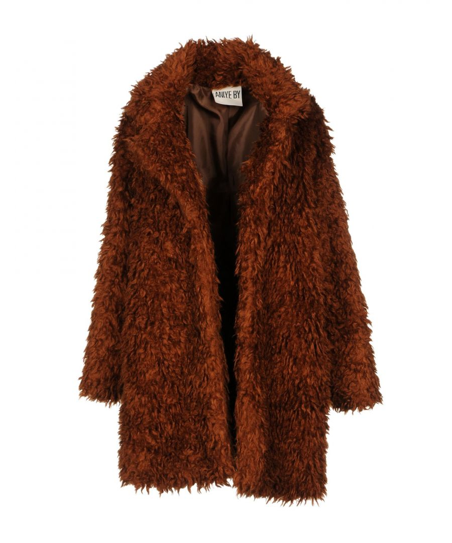 Image for Aniye By Brown Faux Fur Coat