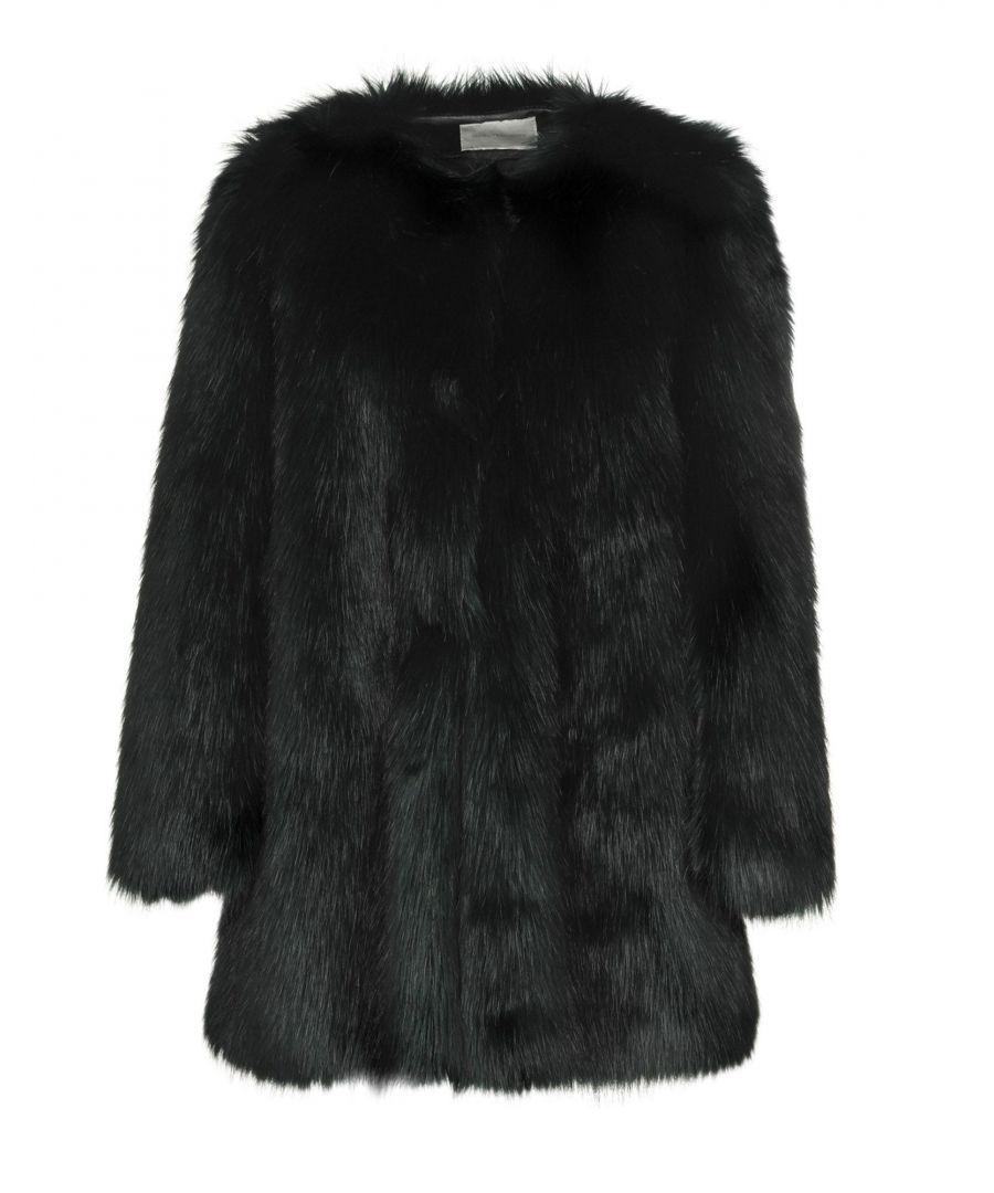 Image for L' Autre Chose Dark Green Faux Fur Jacket