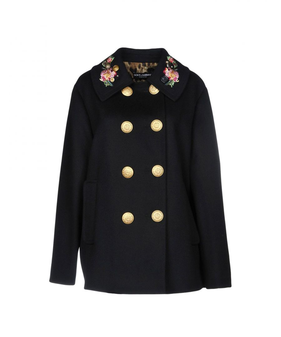 Image for Dolce & Gabbana Black Wool Double Breasted Coat With Embroidered Detailing