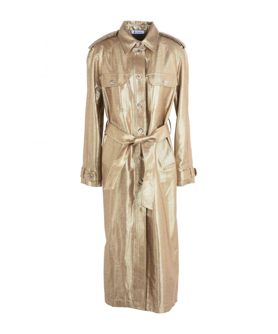 Image for Dondup Gold Lame Belted Shirt Dress