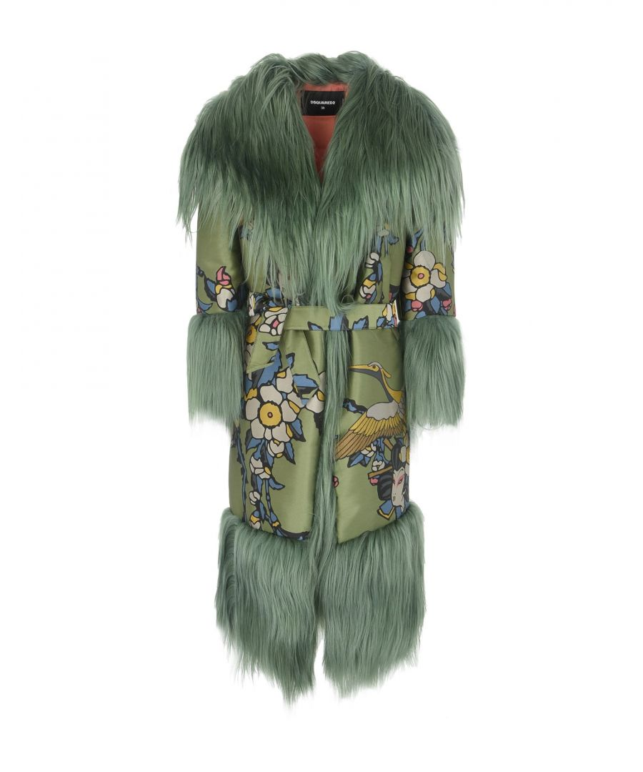 Image for Dsquared2 Military Green Floral Design Faux Fur Coat