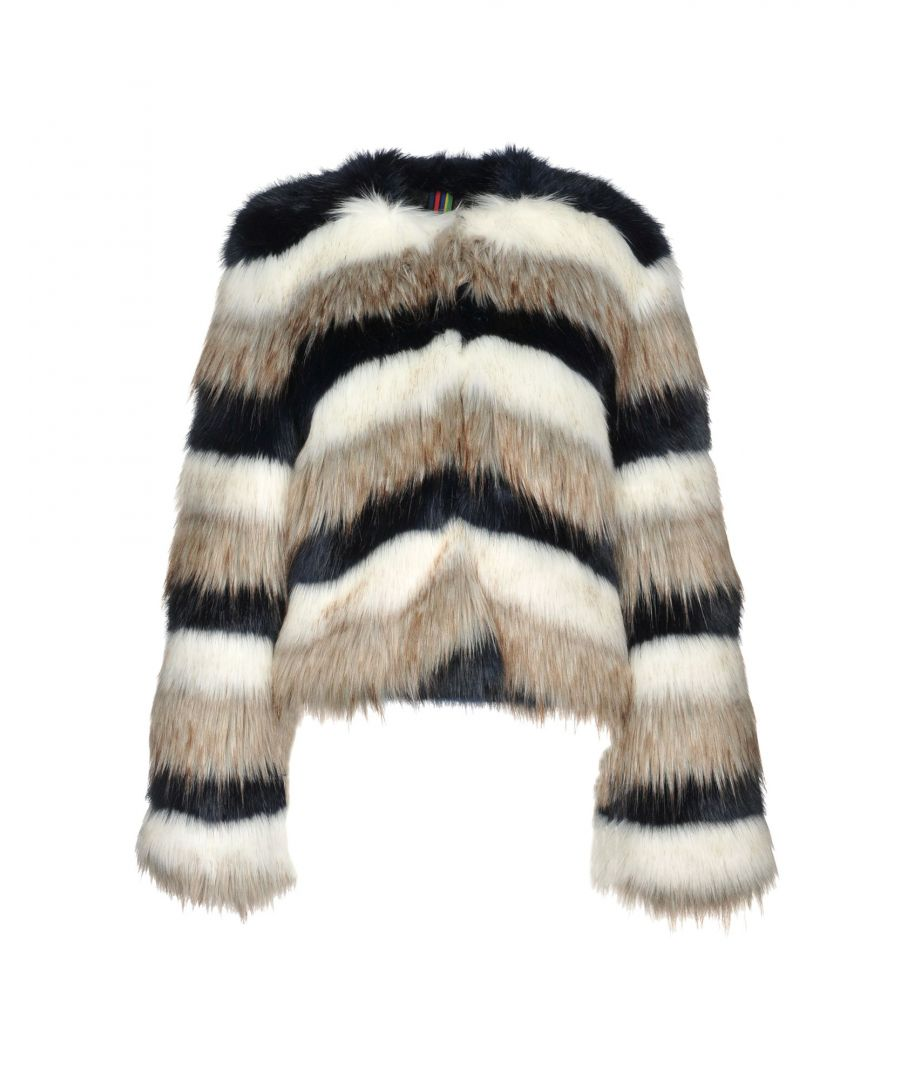 Image for Ps Paul Smith White Stripe Faux Fur Jacket