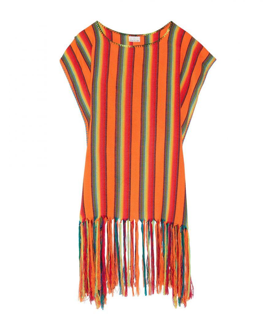 Image for Miguelina Orange Stripe Fringed Kaftan
