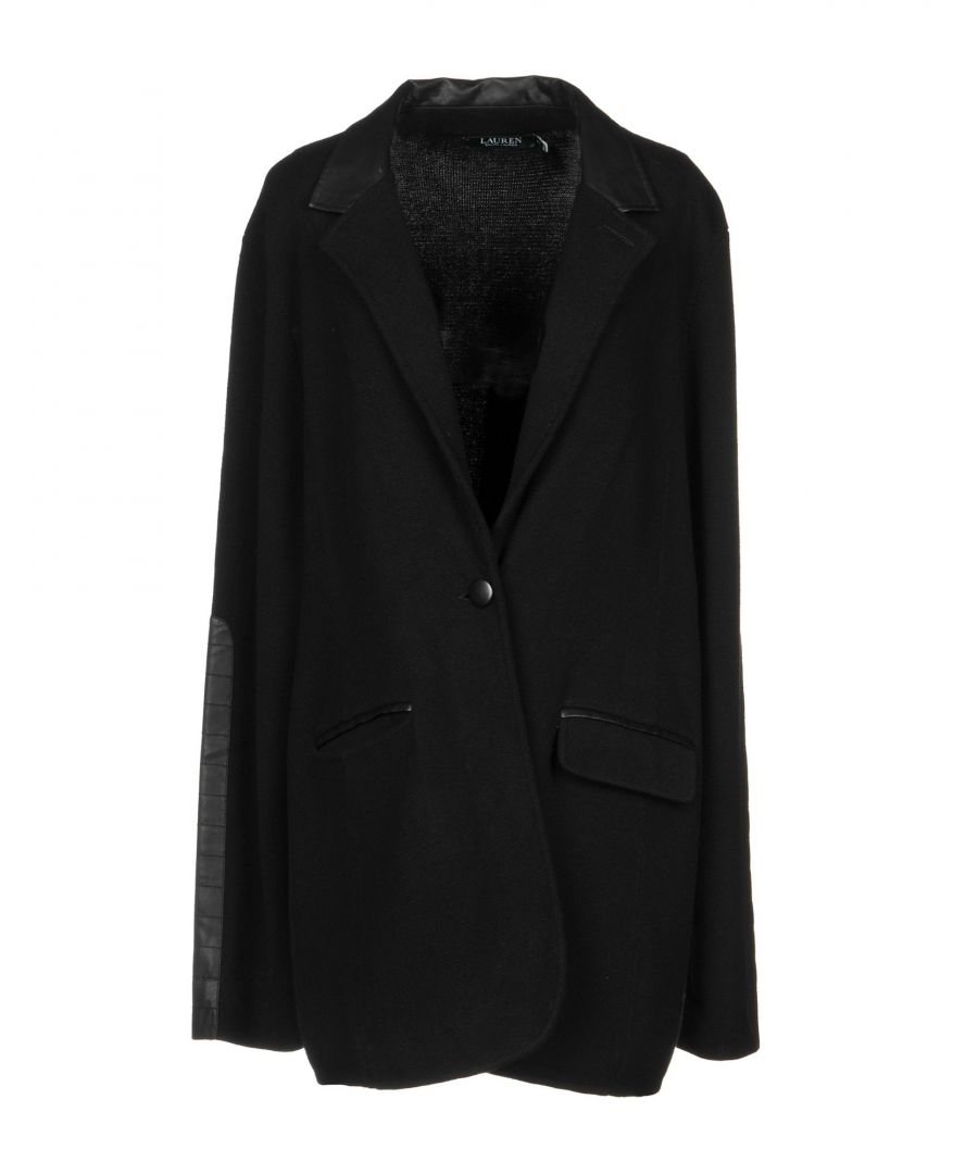 Image for Lauren Ralph Lauren Black Cotton And Faux Leather Single Breasted Jacket