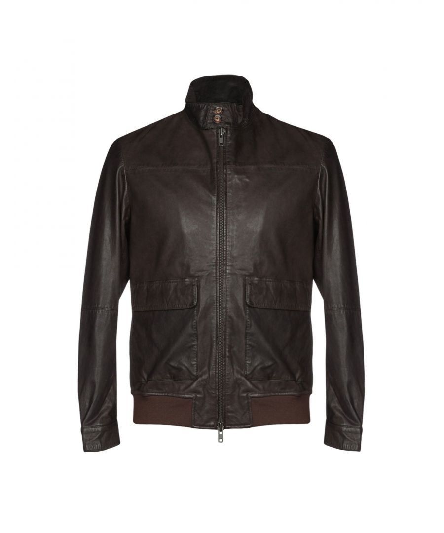 Image for Messagerie Dark Brown Leather Bomber Jacket