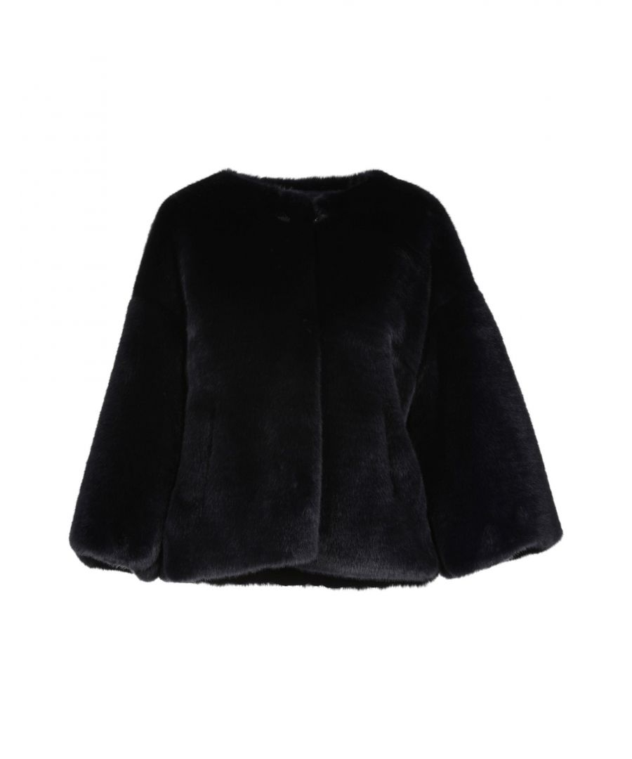 Image for Atos Lombardini Dark Blue Faux Fur Jacket