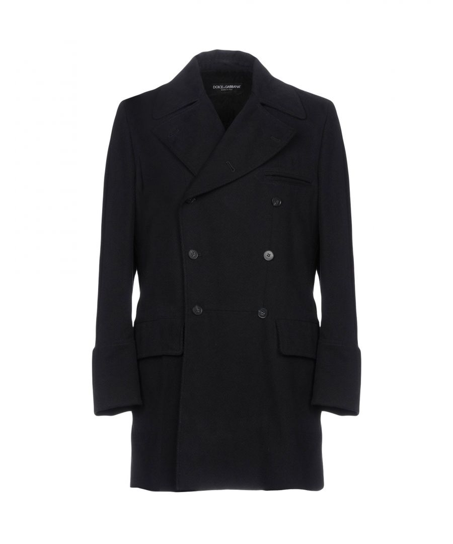 Image for Dolce & Gabbana Dark Blue Cotton Double Breasted Coat