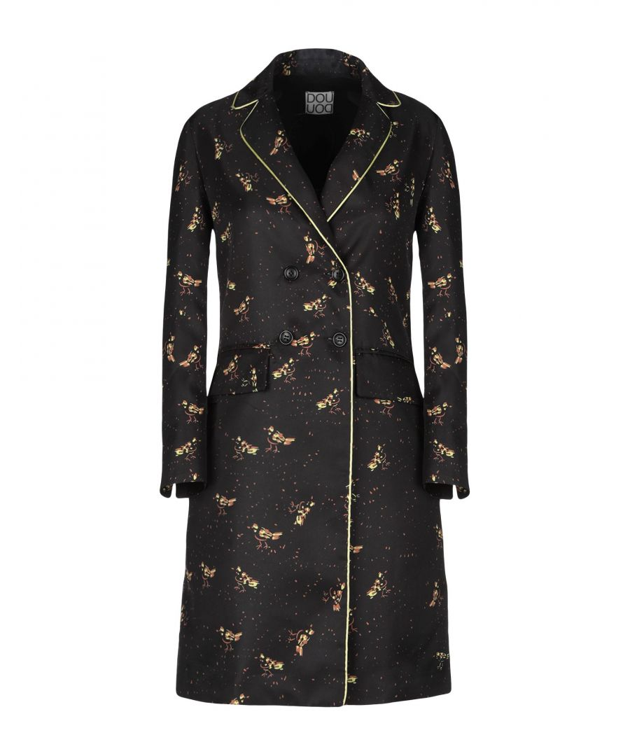 Image for Douuod Black Twill Double Breasted Overcoat