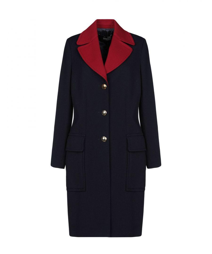 Image for Love Moschino Dark Blue Wool Overcoat