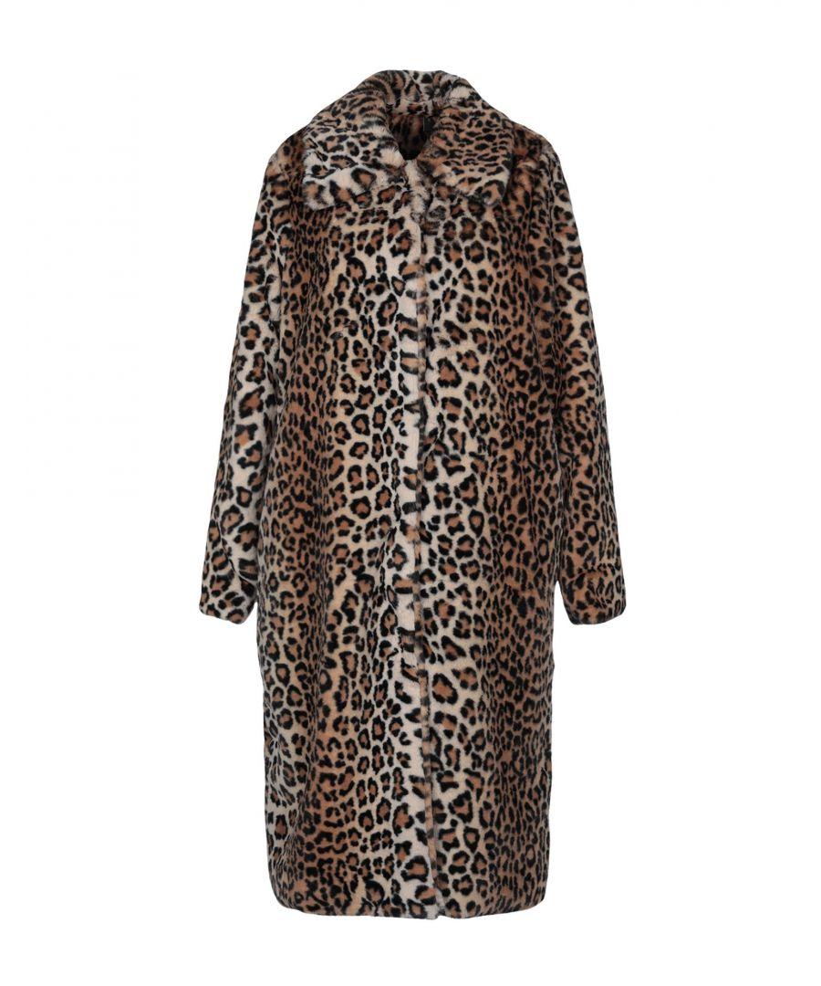 Image for Y.A.S. Camel Faux Fur Leopard Print Coat