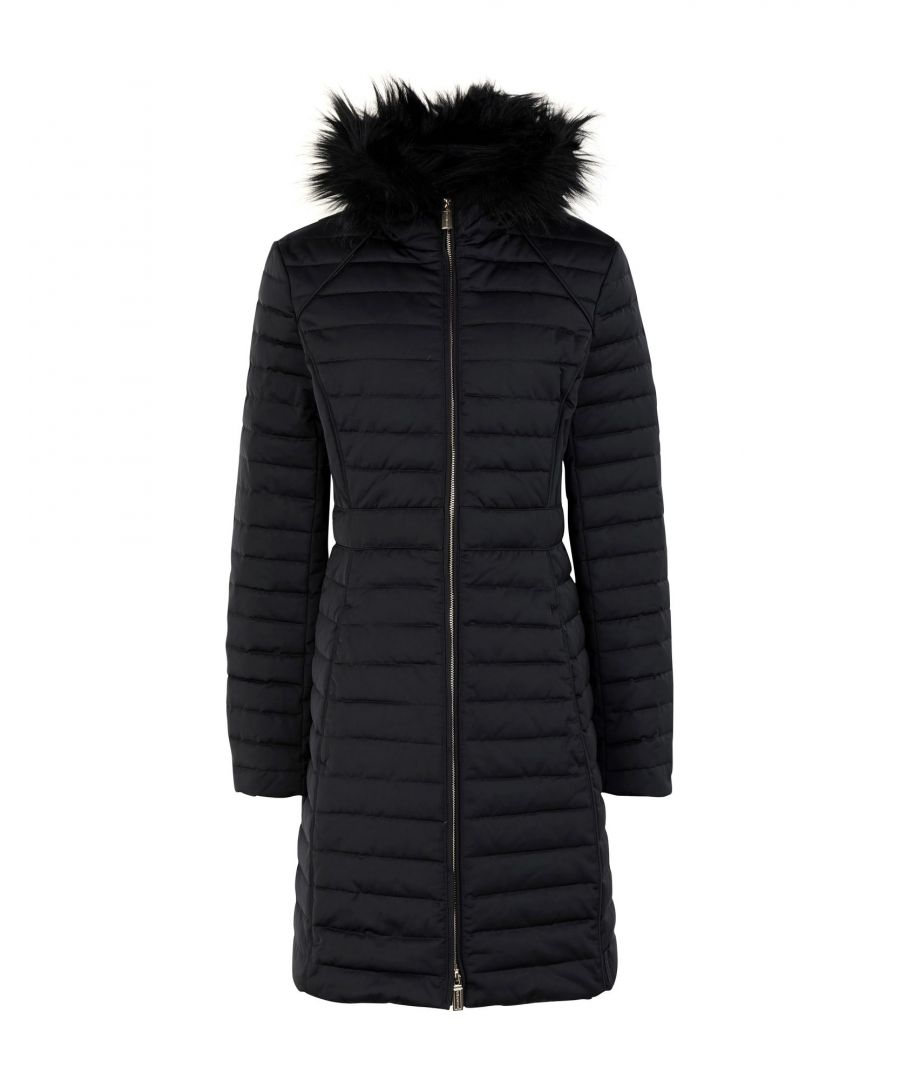 Image for Hunter Black Techno Fabric Padded Coat With Faux Fur Trim
