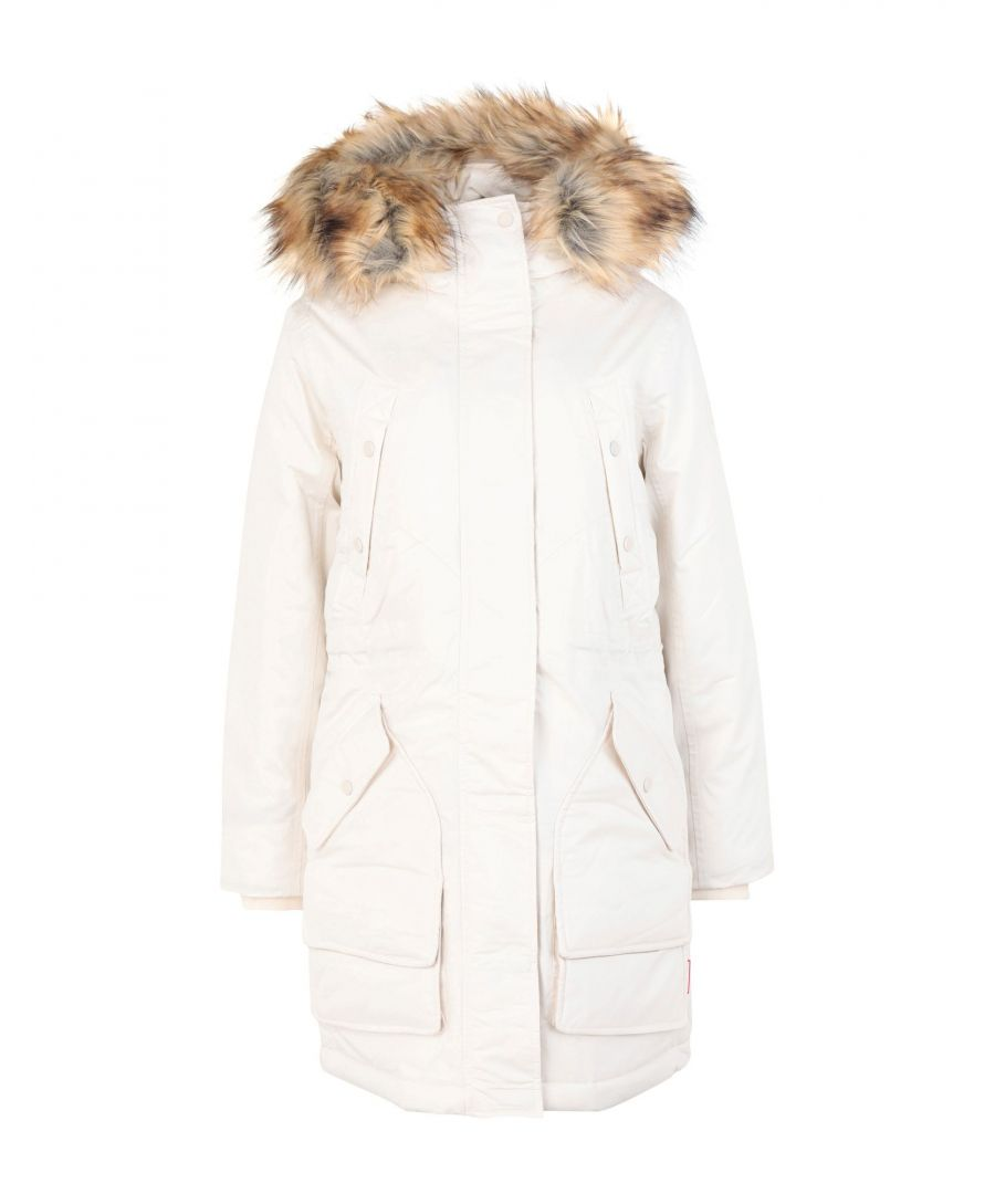 Image for Hunter Ivory Cotton Parka With Faux Fur Trim