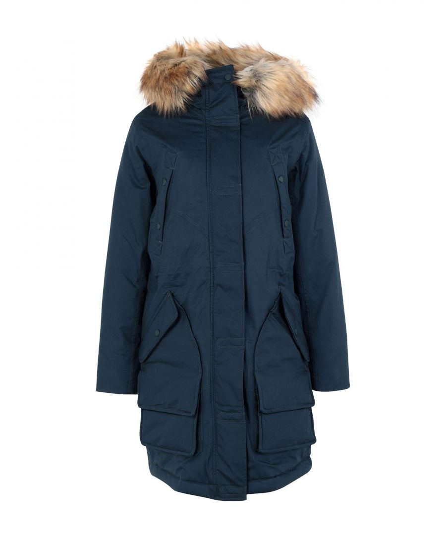 Image for Hunter Slate Blue Cotton Parka With Faux Fur Trim