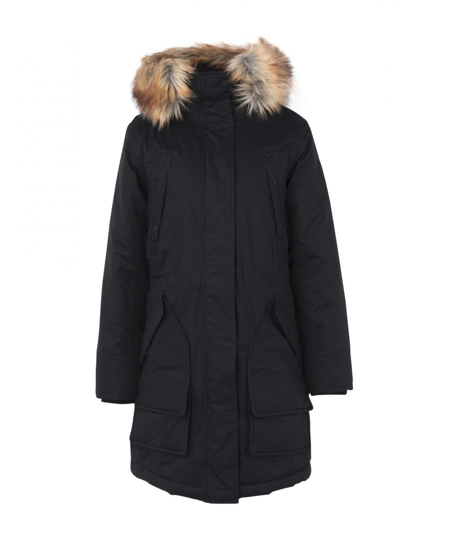 Image for Hunter Black Cotton Parka With Faux Fur Trim