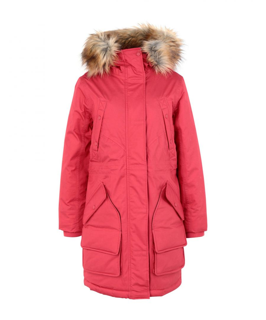 Image for Hunter Red Cotton Parka With Faux Fur Trim