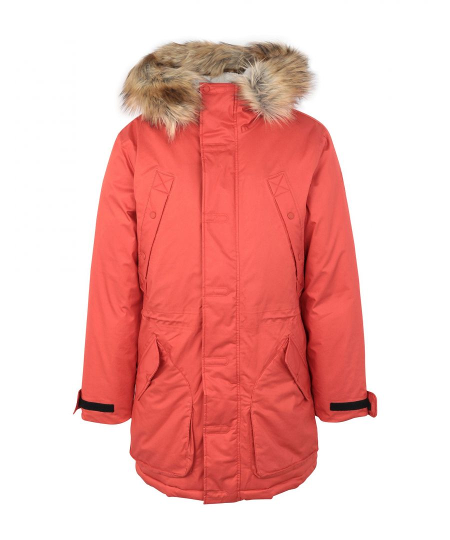 Image for Hunter Brick Red Cotton Parka With Faux Fur Trim