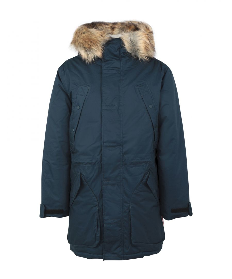 Image for Hunter Slate Blue Cotton Parka Jacket With Faux Fur Trim