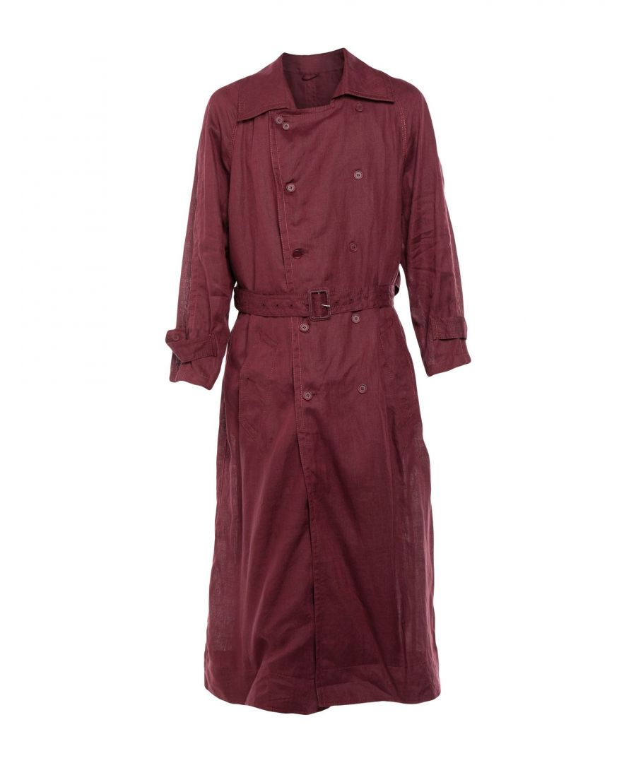 Image for Acne Studios Maroon Linen Belted Trenchcoat