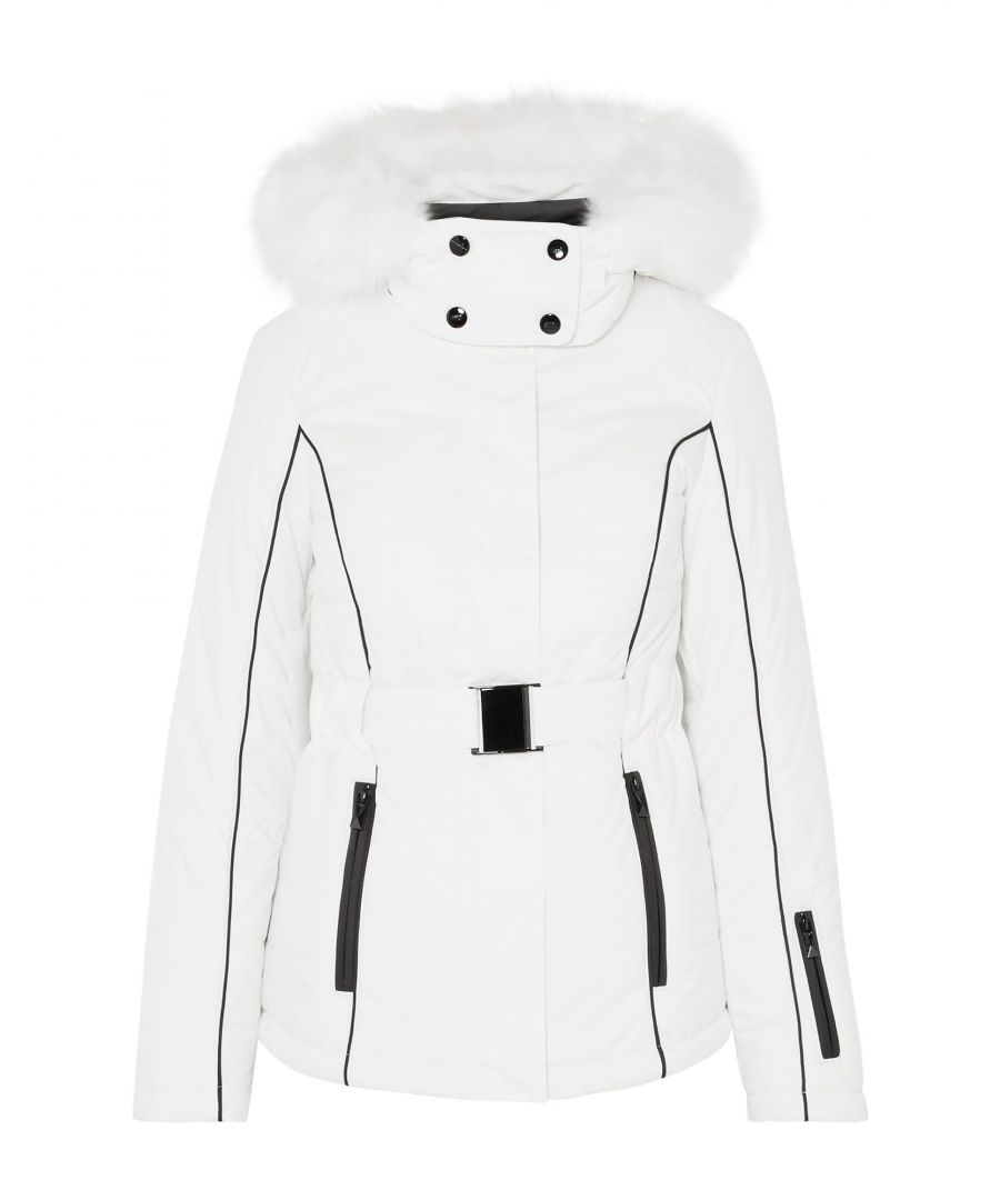 Image for Topshop White Techno Fabric Belted Ski Jacket With Faux Fur Trim